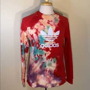 Adidas tie dye sweatshirt red size medium custom